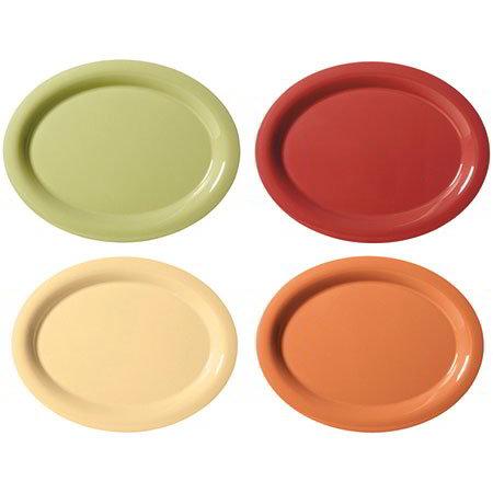 """GET SP-OP-120-COMBO Oval Melamine Platter, 12 x 9"""", Harvest Colors"""