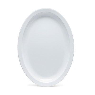 """GET SP-OP-610-W Oval Supermel I Platter, 10 x 6.75"""", White Melamine"""
