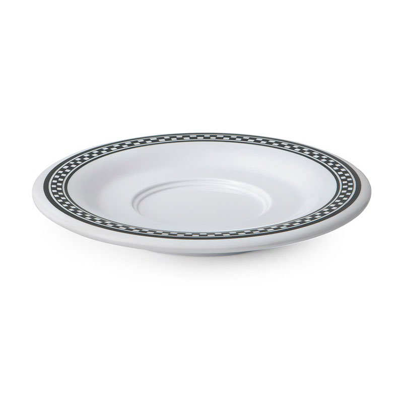 "GET SU-2-X 5-1/2""Saucer, Melamine, White w/Checkered Rim"