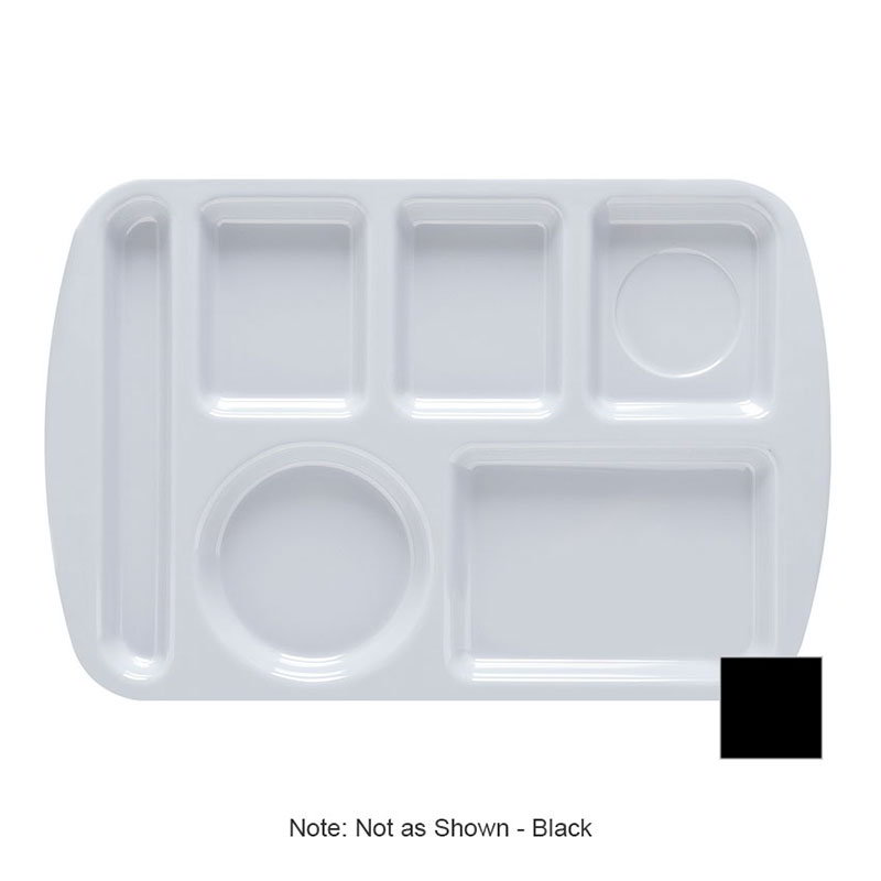 GET TL-151-BK School Tray, 6 Compartment, Left-Handed, Black