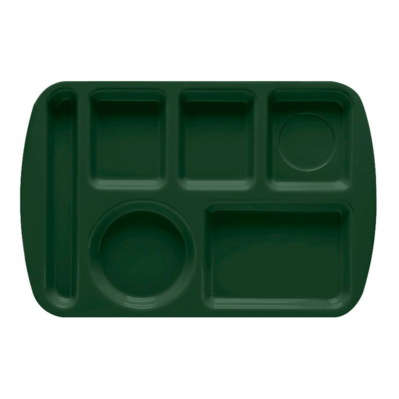 GET TL-151-HG School Tray, 6 Compartment, Left-Handed, Hunter Green