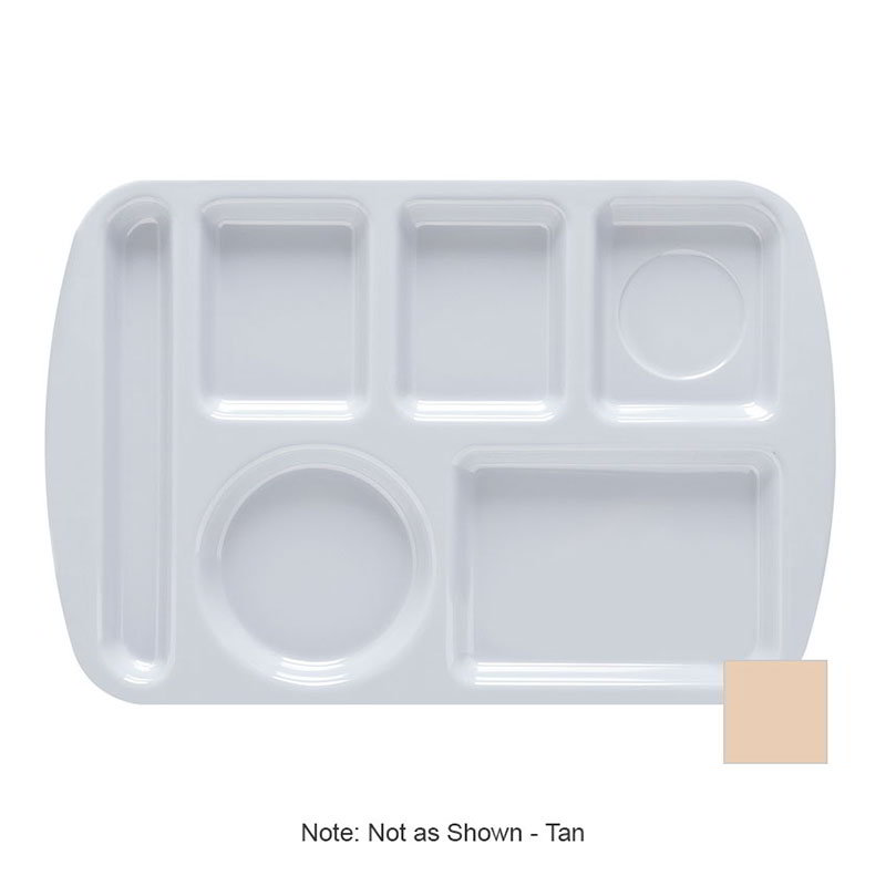 Get TL-151-T School Tray, 6 Compartment, Left-Handed, Tan