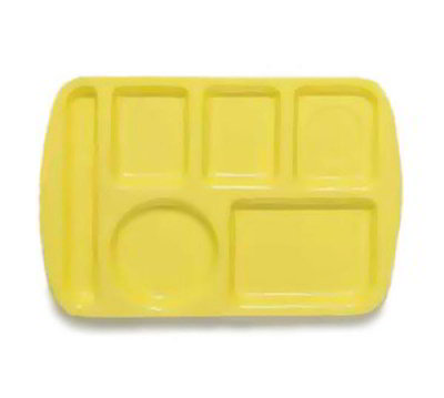 GET TL-151-Y School Tray, 6 Compartment, Left-Handed, Yellow