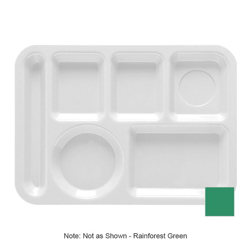GET TL-152-FG School Tray, 6 Compartment, Left-Handed, Rainforest Green