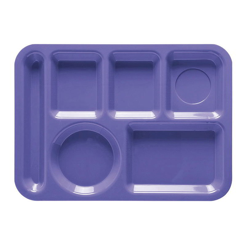 GET TL-152-PB School Tray, 6 Compartment, Left-Handed, Peacock Blue