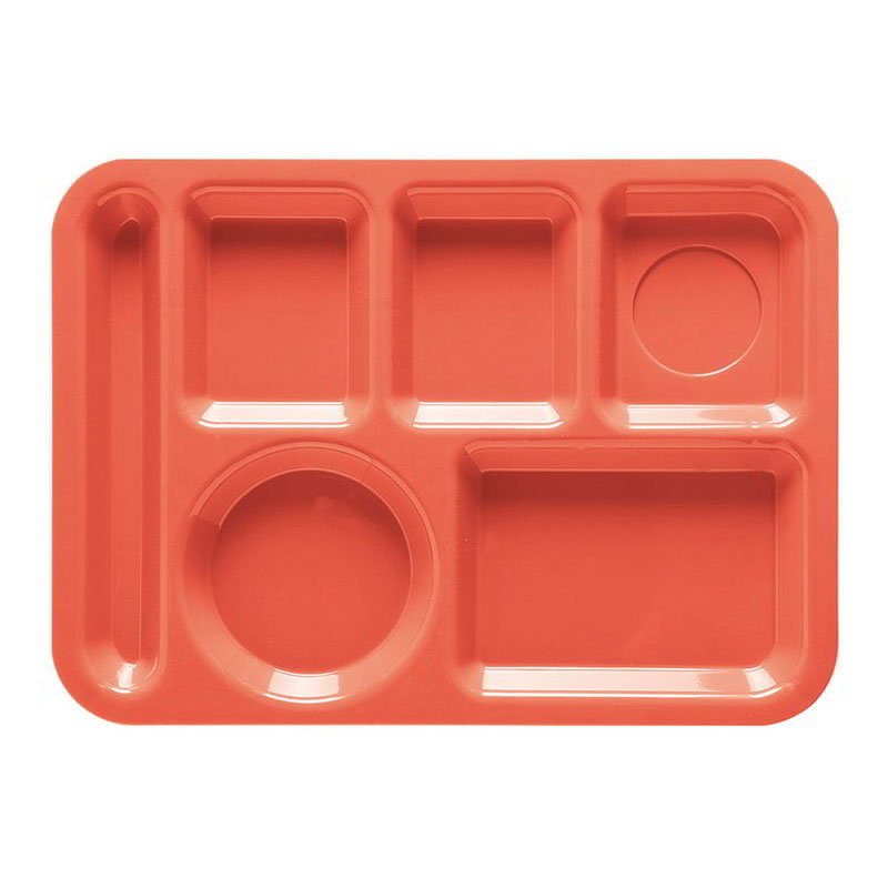 GET TL-152-RO School Tray, 6 Compartment, Left-Handed, Rio Orange