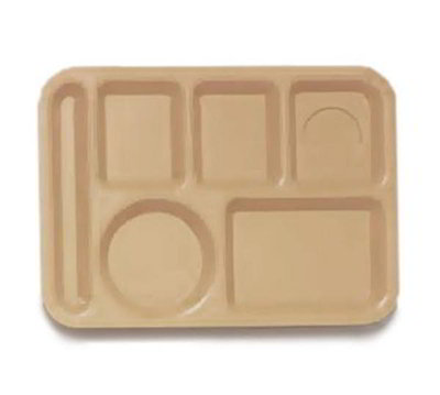GET TL-152-T School Tray, 6 Compartment, Left-Handed, Tan