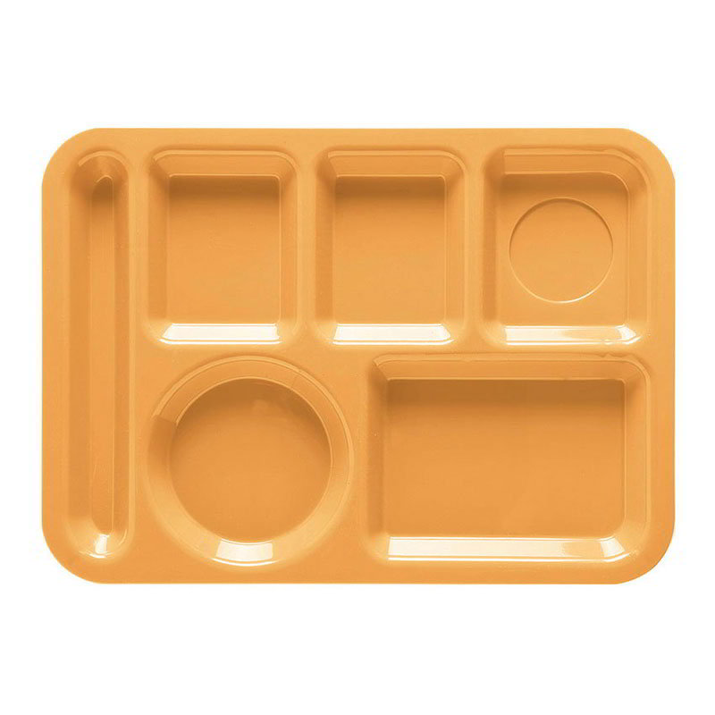 GET TL-152-TY School Tray, 6 Compartment, Left-Handed, Tropical Yellow