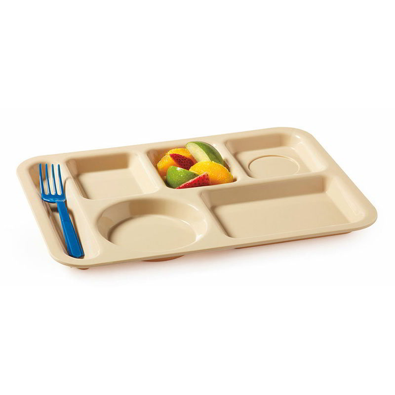 GET TL-153-T School Tray, 6 Compartment, Left-Handed, Polypropylene, Tan