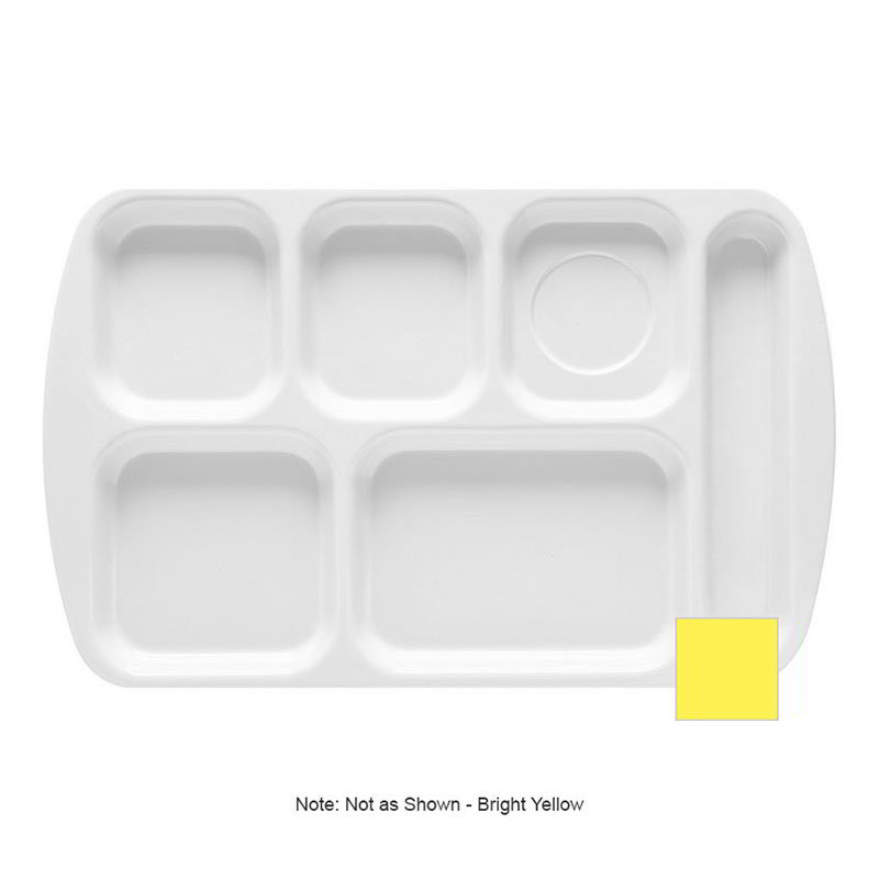 GET TR-151-BY School Tray, 6 Compartment, Right-Handed, Bright Yellow