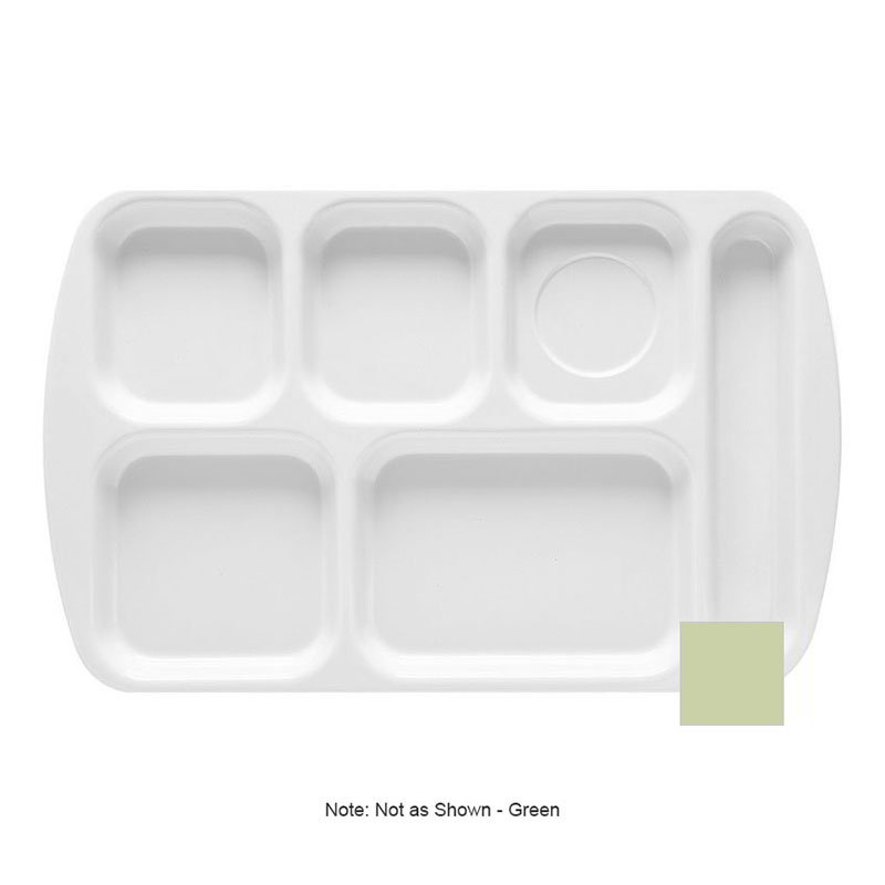 """GET TR-151-G School Cafeteria Tray w/ (6) Compartments, 15.5"""" x 10"""", Melamine, Green"""