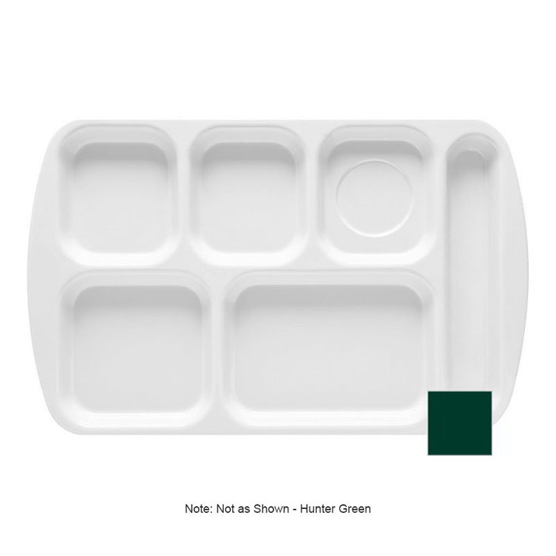 GET TR-151-HG School Tray, 6 Compartment, Right-Handed, Hunter Green