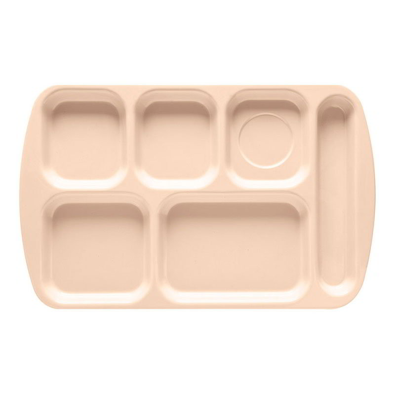 GET TR-151-T School Tray, 6 Compartment, Right-Handed, Tan
