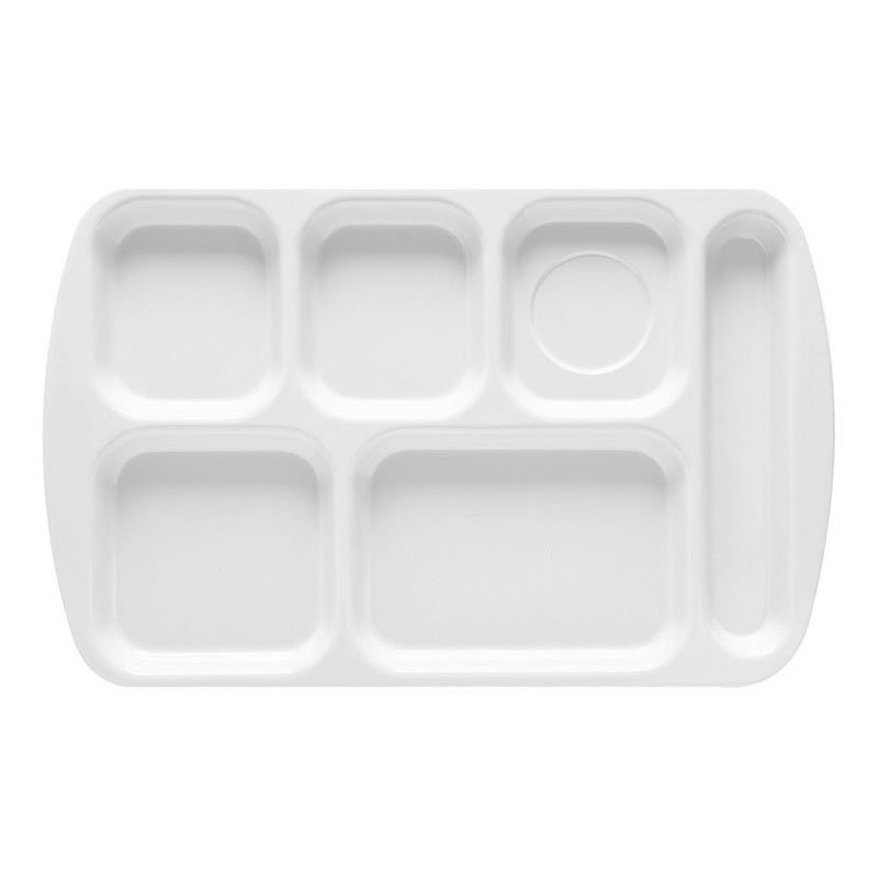 GET TR-151-W School Tray, 6 Compartment, Right-Handed, White