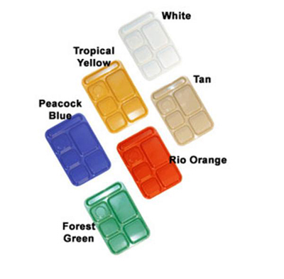 GET TR-153-T School Tray, 6 Compartment, Right-Handed, Polypropylene, Tan