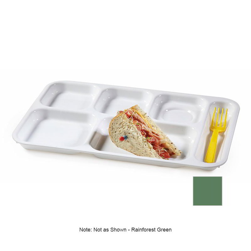 GET TR-152-FG School Tray, 6 Compartment, Right-Handed, Rainforest Green