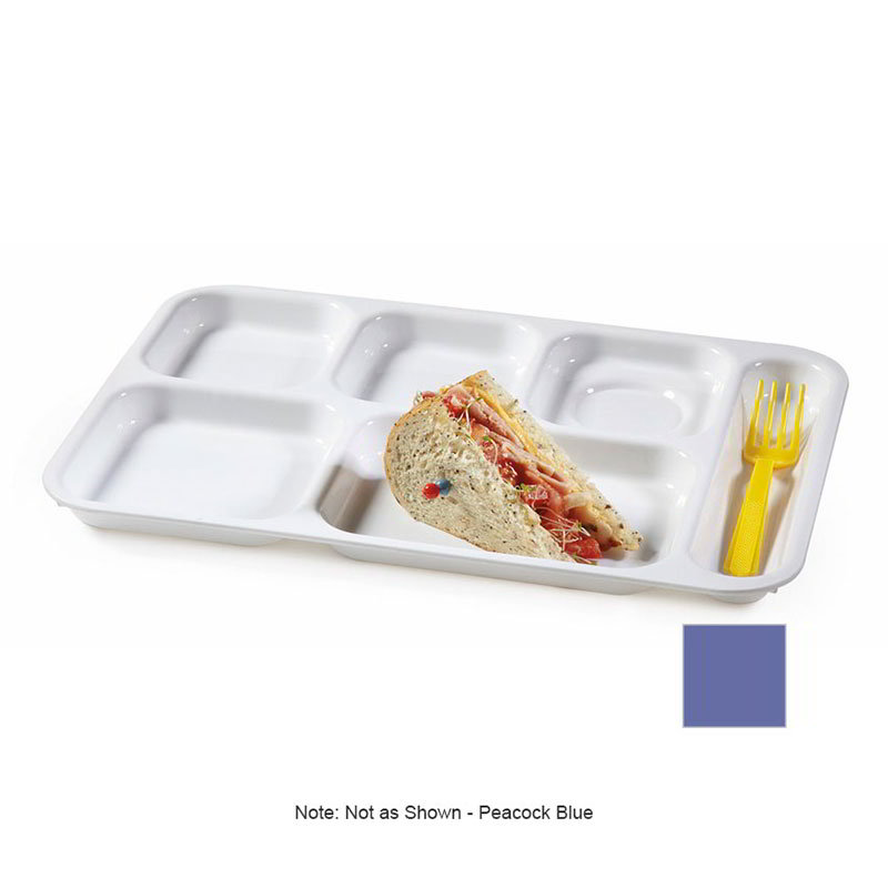 GET TR-152-PB School Tray, 6 Compartment, Right-Handed, Peacock Blue
