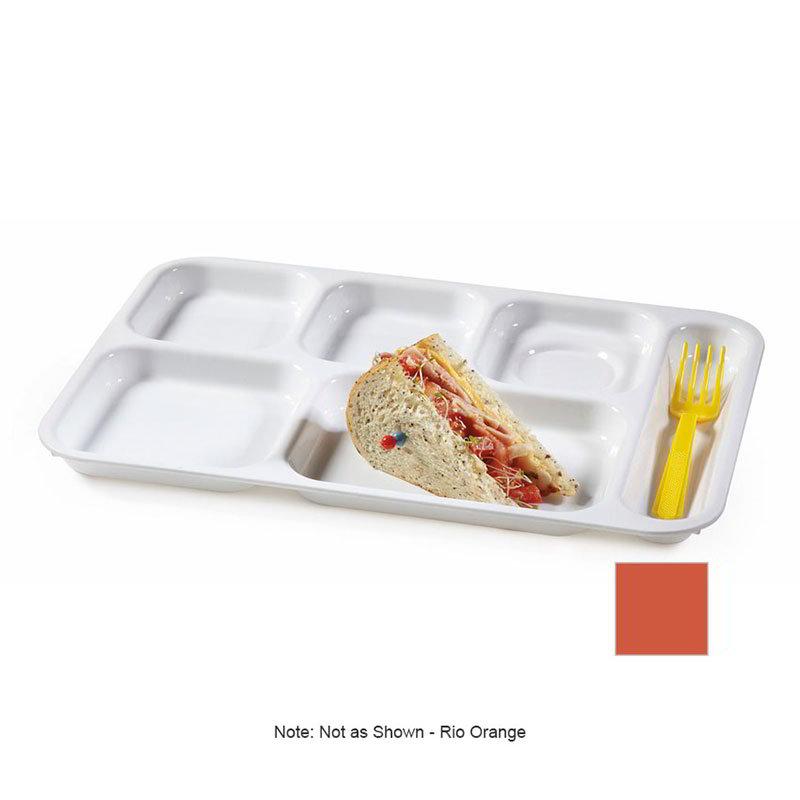 GET TR-152-RO School Tray, 6 Compartment, Right-Handed, Rio Orange