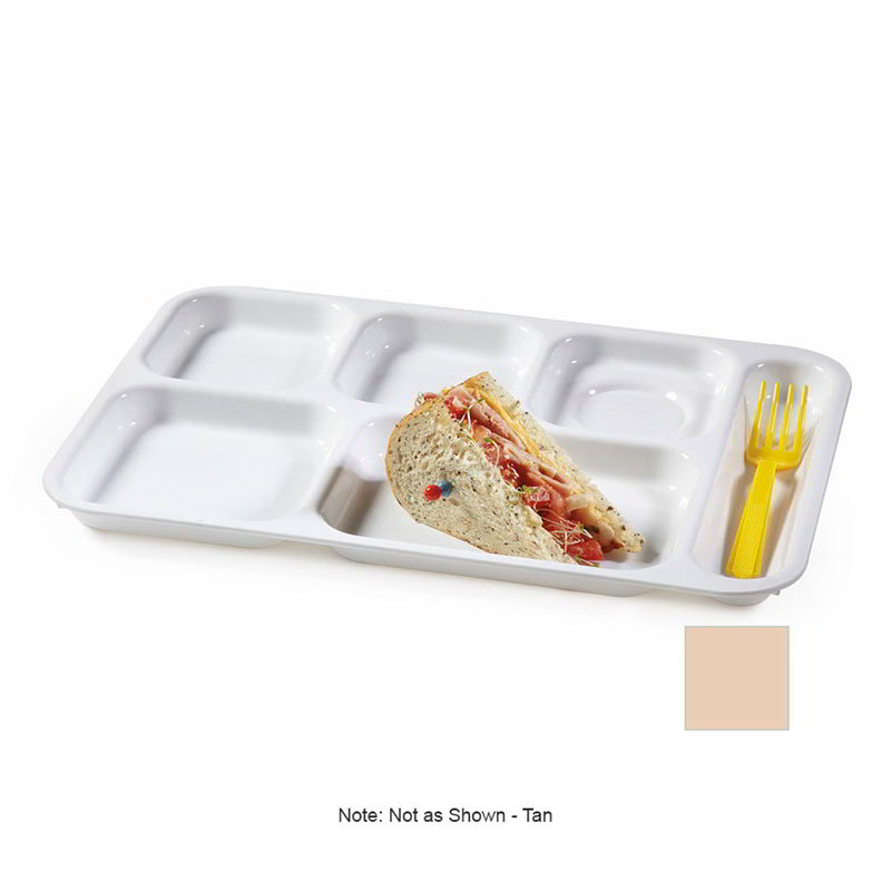 GET TR-152-T School Tray, 6 Compartment, Right-Handed, Tan