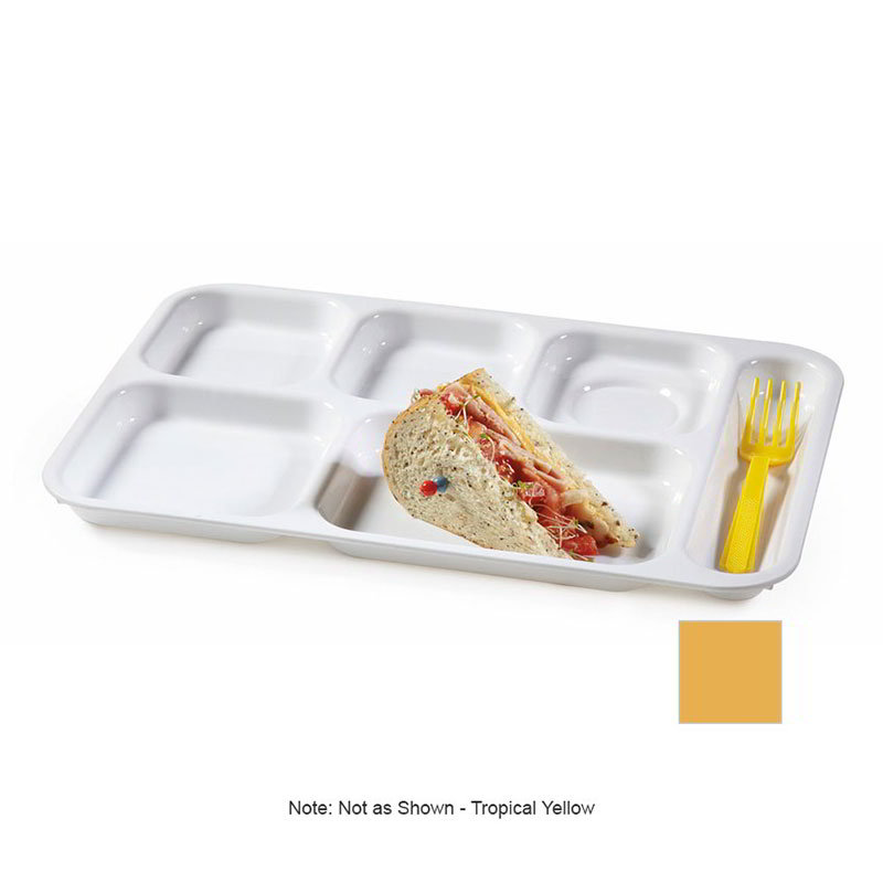 GET TR-152-TY School Tray, 6 Compartment, Right-Handed, Tropical Yellow