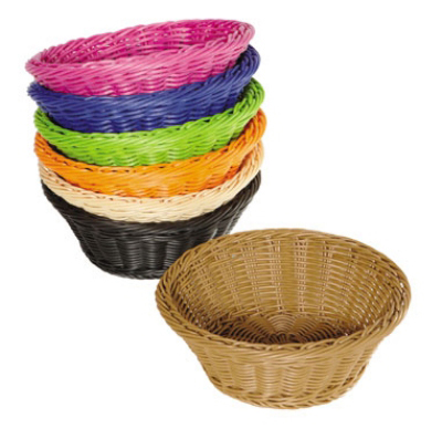 GET Enterprises WB-1501-OR Designer Polyweave Basket Round 9-1/2 x 3-1/2 in Deep Polypropylene Orange Restaurant Supply