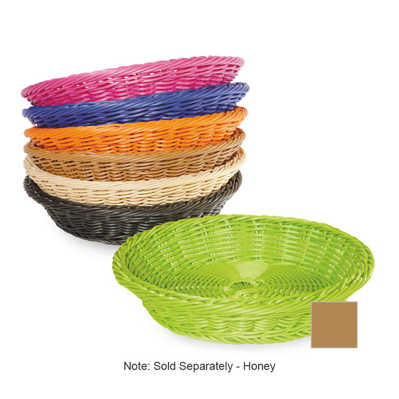 "GET WB-1502-HY Designer Polyweave Basket, Round, 11-1/2 x 2-3/4""Deep, Polypropylene, Honey"