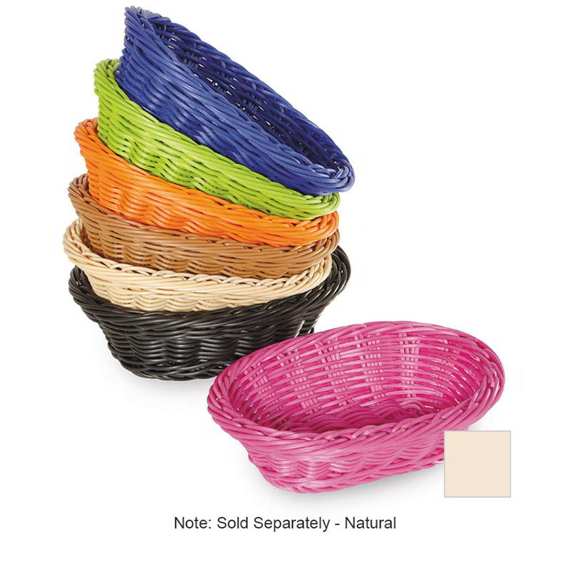 "GET WB-1503-N Designer Polyweave Basket, Oval, 9 x 6-3/4 x 2-1/2"" Deep, Poly, Natural"