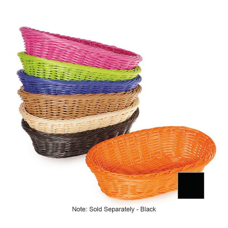 "GET WB-1505-BK Designer Polyweave Basket, Oval, 11-3/4 x 8 x 3""Deep, Polypropylene, Black"