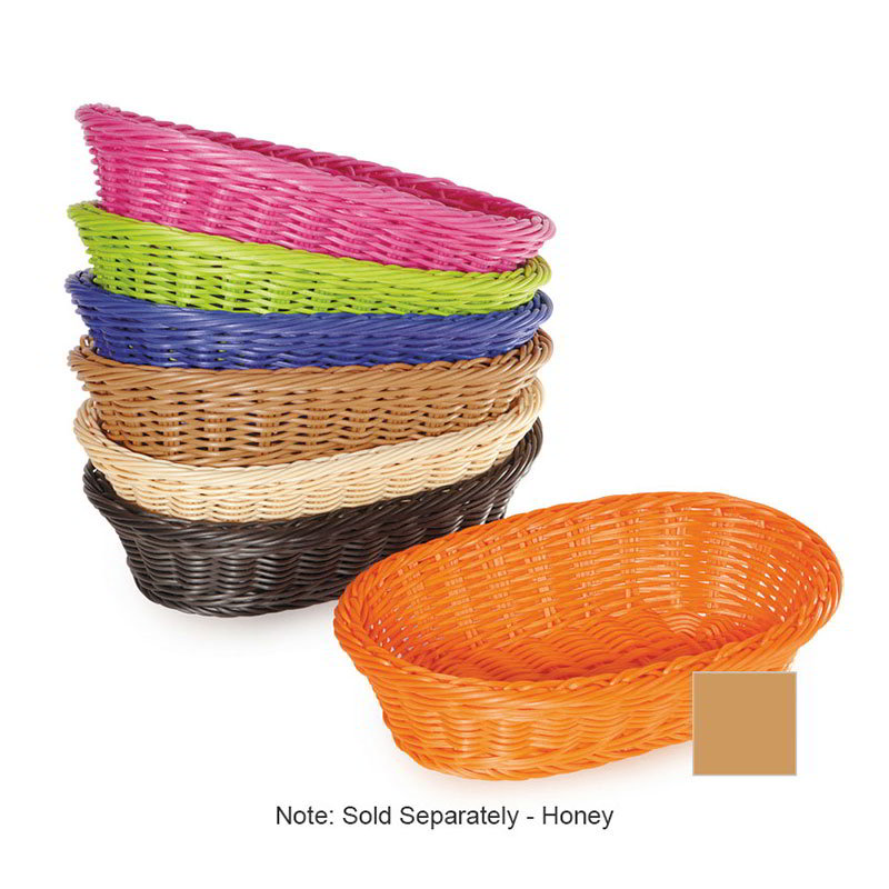 "GET WB-1505-H Designer Polyweave Basket, Oval, 11-3/4 x 8 x 3""Deep, Polypropylene, Honey"