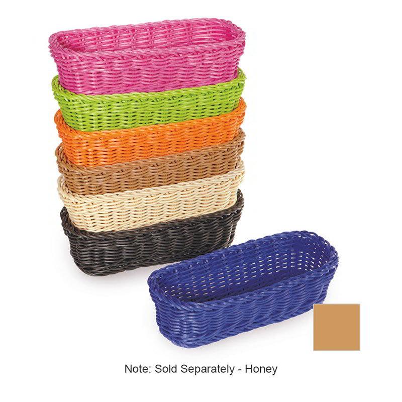 "GET WB-1507-HY Designer Polyweave Basket, Rectangular, 10 x 4-3/4 x 3"" Deep, Honey"