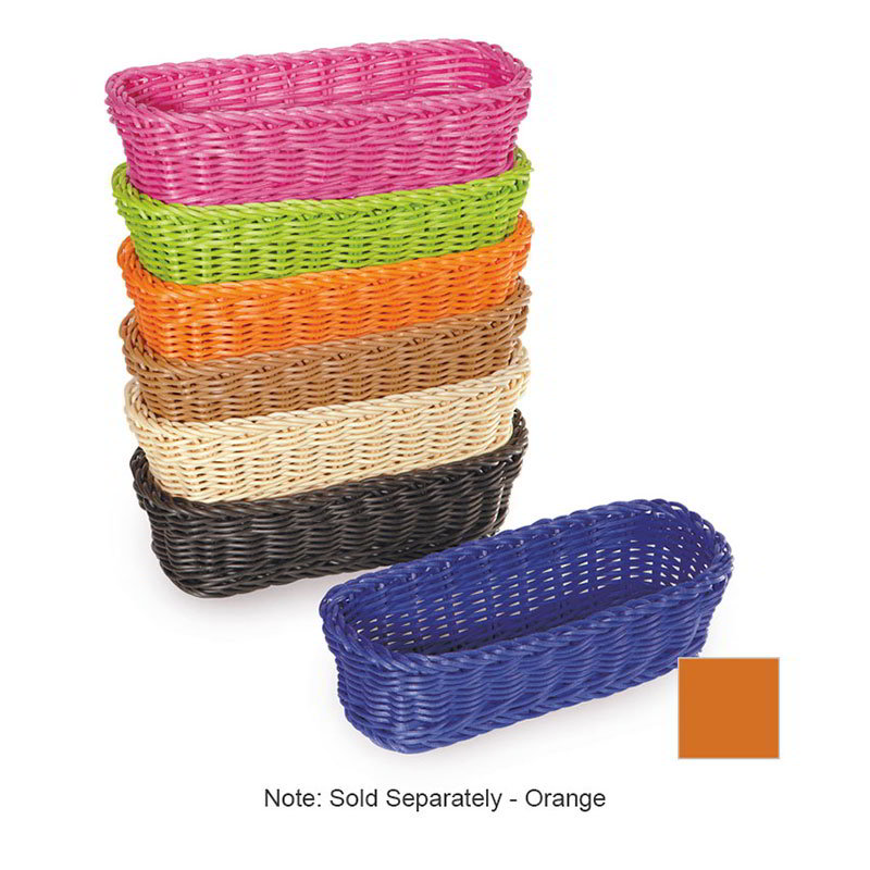 "GET WB-1507-OR Designer Polyweave Basket, Rectangular, 10 x 4-3/4 x 3"" Deep, Orange"