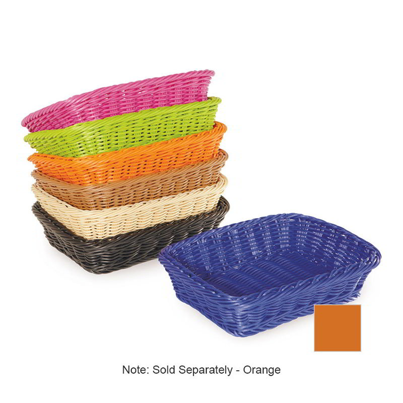 "GET WB-1508-OR Designer Polyweave Basket, Rectangular, 11-1/2 x 8-1/2 x 2-3/4"" Deep, Orange"