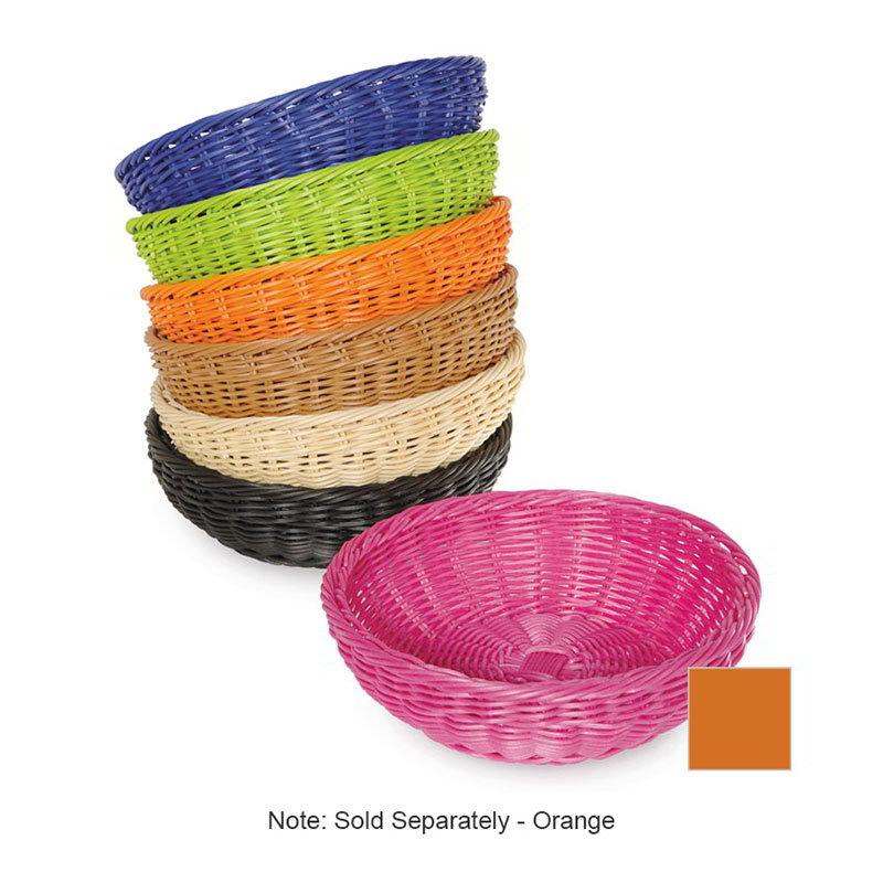 """GET WB-1512-OR Designer Polyweave Basket, Round, 11-1/2 x 3-1/2""""Deep, Polypropylene, Orange"""