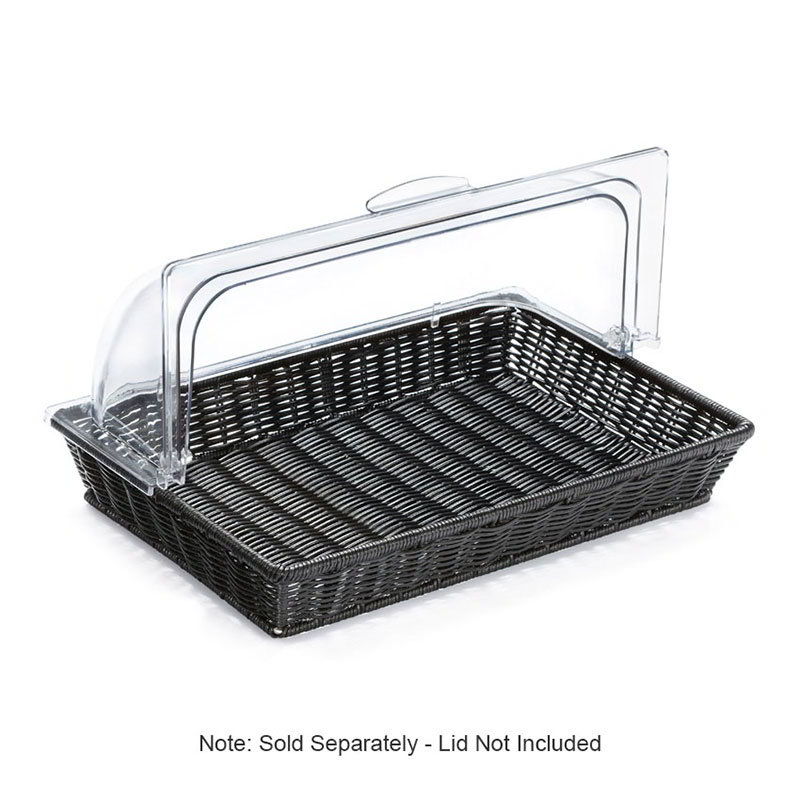 "GET WB-1553-BK Rectangular Polyweave Basket, Dishwasher Safe, Polypropylene, 16.25x11"", Black"