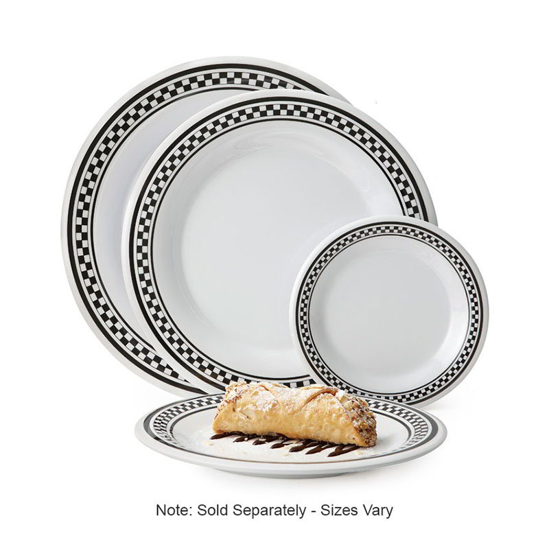 "GET WP-10-X 10-1/2""Plate, Wide Rim, Melamine, White w/Checkered Rim"