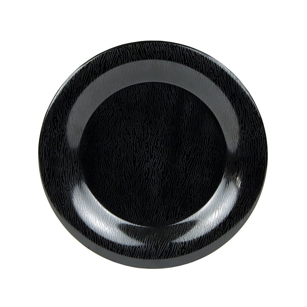 """GET WP-9-EW-BK 9"""" Round Plate - Melamine, Textured Black"""