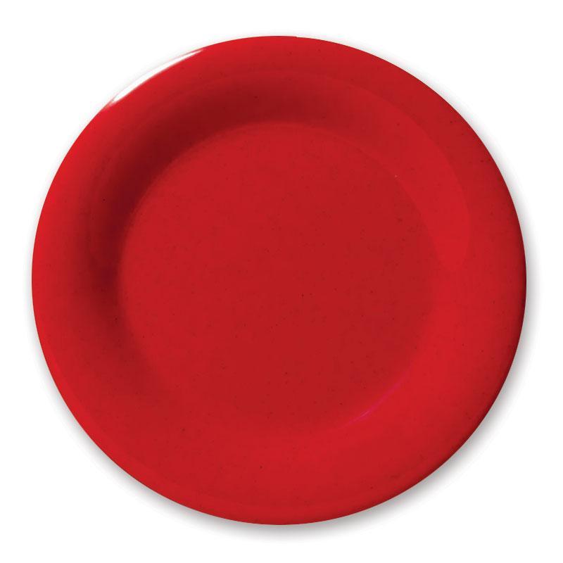 "GET WP-9-RSP 9"" Round Dinner Plate, Melamine, Red"