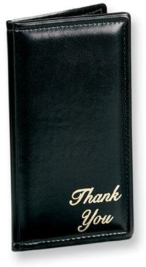 Risch 5000PWN Padded Guest Check Presenter - Wine w/ Gold Thank You