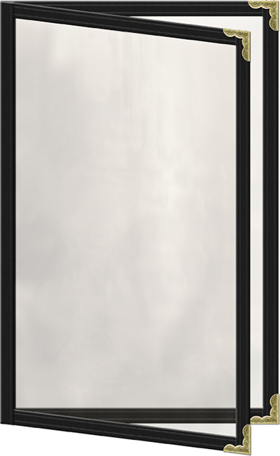 "Risch TED5-1/2X8-1/2 BK Clear Sewn Menu Cover - Double-View, Gold Corners, 5-1/2x8-1/2"" Black"