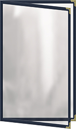 """Risch TED8-1/2X14 BL Clear Sewn Menu Cover - Double-View, Gold Corners, 8-1/2x14"""" Blue"""