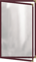 "Risch TED8-1/2X14 MN Clear Sewn Menu Cover - Double-View, Gold Corners, 8-1/2x14"" Maroon"