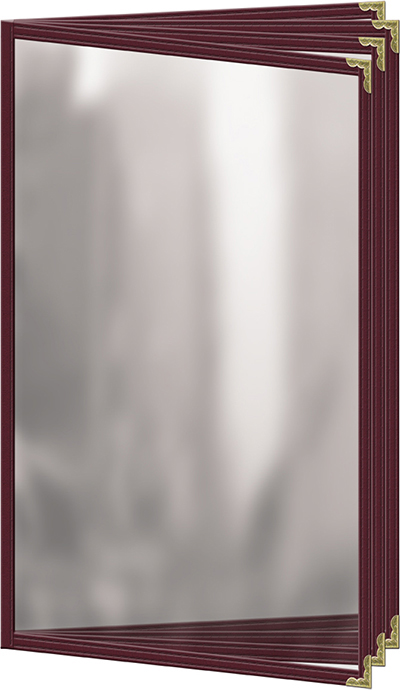 """Risch TEDD8-1/2X14 MN Sewn Menu Cover - 4-Page Booklet, Gold Corners, 8-1/2x14"""" Maroon"""