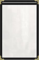 "Risch TES5-1/2X8-1/2 BK Clear Sewn Menu Cover - Single-View, Gold Corners, 5-1/2x8-1/2"" Black"