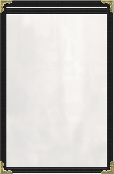 "Risch TES5-1/2X8-1/2 BK Clear Sewn Menu Cover - Single-View, Gold Corners, 5-1/2x8-1/2"" Black"