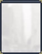 "Risch TES5-1/2X8-1/2 BL Clear Sewn Menu Cover - Single-View, Gold Corners, 5-1/2x8-1/2"" Blue"