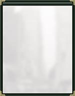 "Risch TES5-1/2X8-1/2 GN Clear Sewn Menu Cover - Single-View, Gold Corners, 5-1/2x8-1/2"" Green"