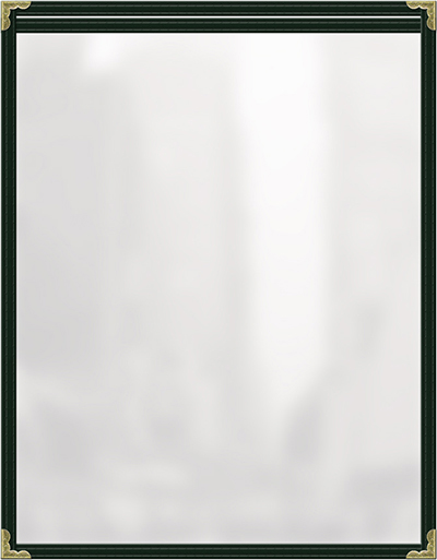 "Risch TES5-1/2X8-1/2 GN Clear Sewn Menu Cover - Single-View, Gold Corners, 5-1/2x8-1/2"" Green"