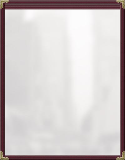 "Risch TES5-1/2X8-1/2 MN Clear Sewn Menu Cover - Single-View, Gold Corners, 5-1/2x8-1/2"" Maroon"