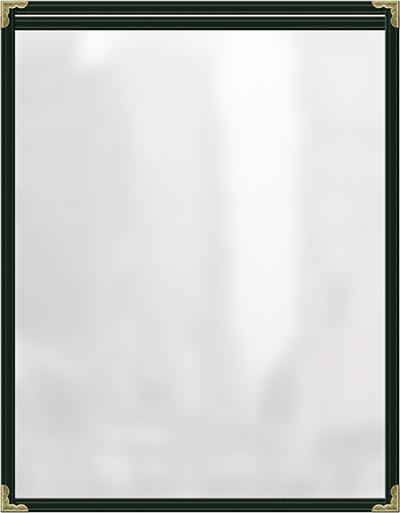"Risch TES8-1/2X11 GN Clear Sewn Menu Cover - Single-View, Gold Corners, 8-1/2x11"" Green"