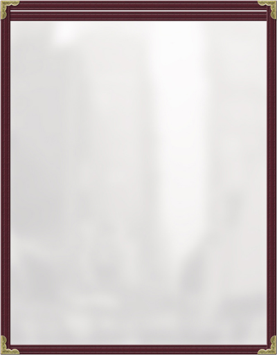 "Risch TES8-1/2X11 MN Clear Sewn Menu Cover - Single-View, Gold Corners, 8-1/2x11"" Maroon"